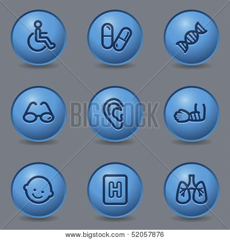 Medicine web icons, circle blue buttons