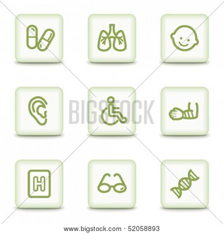 Medicine web icons set 2, white glossy buttons