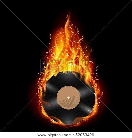 Vinyl disc in flames of fire.