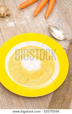Carrot Cream Soup In Vertical Format