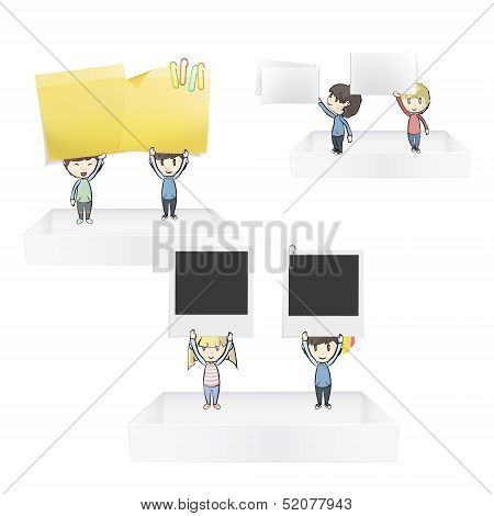 Group Of Kids Holding Posit, Business Card And Empty Photo On White Shelves. Vector Design