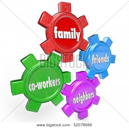 The words Family, Friends, Neighbors and Co-Workers on gears to illustrate a support system of people who are close to you and will help in times of need