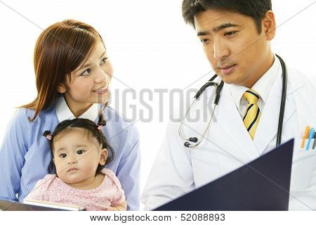 Smiling Asian medical doctor with patients