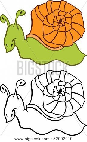 Illustration of a cartoon snail crawling with his home shell poster