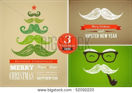 Hipster greeting cards Merry Christmas