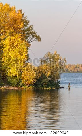 Lone Fisherman At The River Severn In Buildwas, Shropshire