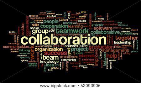 Conceito de colaboração na nuvem de Tags palavra isolada no fundo preto