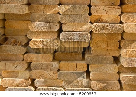 Sawed Wooden Boards Laid In A Heap