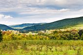 panorama of caucasian mountains in Shapsugskaya anomalous area in early autumn day poster