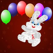 fluffy hare with balloons on a claret backgroundillustration a raster poster