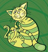 Cartoon vector illustration of green happy cat poster