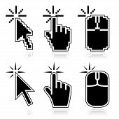 Black mouse cursors set. Click here arrow, hand and mouse left click icons. Good for illustration of place of clicking. poster