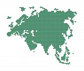 Green map of Eurasia. Abstract vector illustration. poster