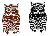 Tribal owl with decorative ornament isolated on white background poster