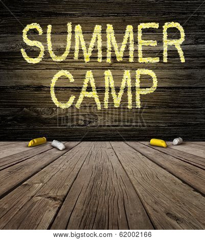 Summer camp sign with a drawing as a symbol of education with copy space. poster