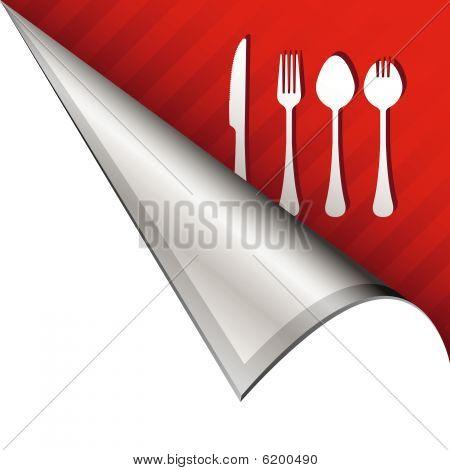 Dining icon on peeling corner tab