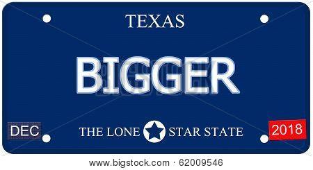 Bigger Texas Imitation License Plate