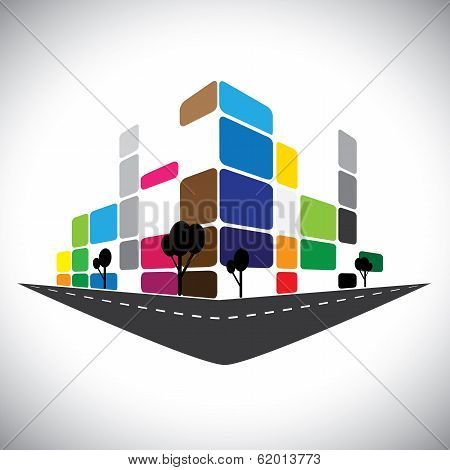 Vector Icon - Building Of Home Apartment Or Super Market Or Office Space.