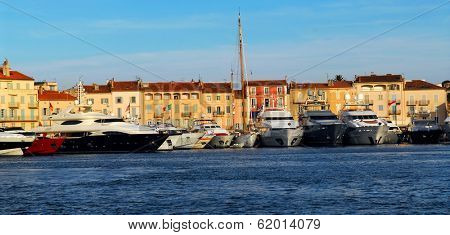 Luxury boats anchored in St. Tropez in French Riviera
