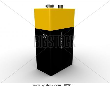 9v square battery isolated on white background poster
