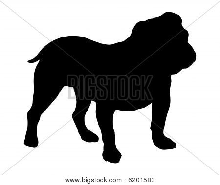 The black silhouette of an English Bulldogge poster