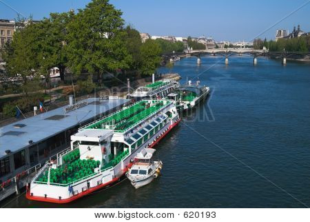Cruise Ships On Seine River, Paris, France