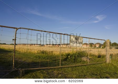 Farmland being encroached on by row of houses