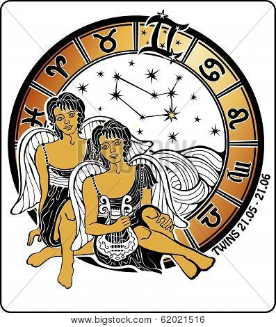 Twins Boys And The Zodiac Sign.horoscope Circle.illustration