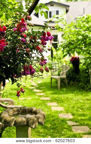 Path of stepping stones leading to a house in lush green garden