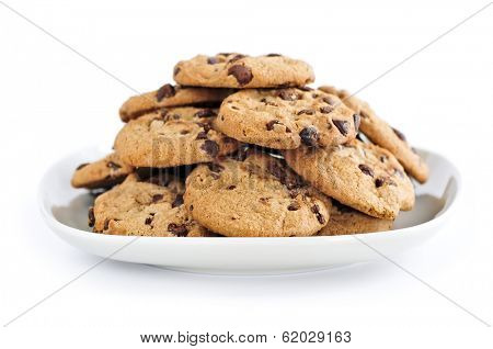 Plate of chocolate chip cookies isolated on white background
