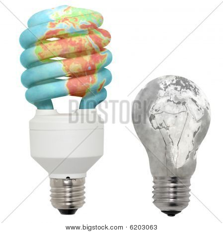 Energy Saving Lamp In Color And Normal Lamp In Black And White Performance.