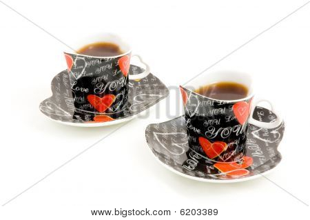 Heart Shape Coffee Cup On White Background