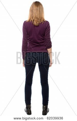 Rear View Of A Trendy Modern Young Woman