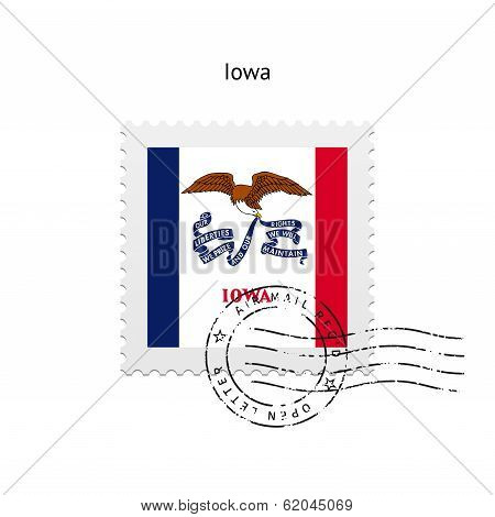 State of Iowa flag postage stamp.
