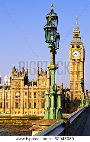 Houses of Parliament with Big Ben in London from Westminster Bridge