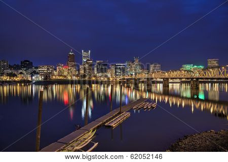 Portland Oregon City Waterfront Skyline Along Willamette River at Evening Blue Hour poster