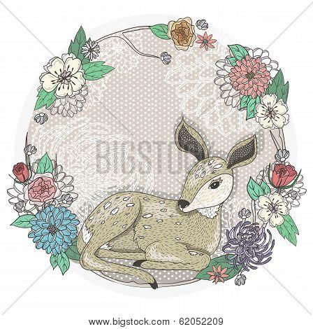 Cute Baby Deer And Flowers Frame.