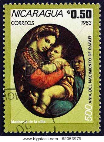 Postage Stamp Nicaragua 1983 Madonna Of The Chair, By Raphael