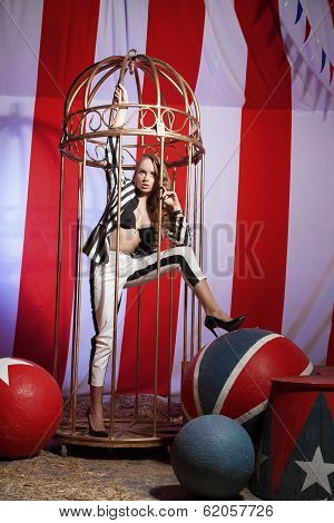 fashion acrobat woman in circus