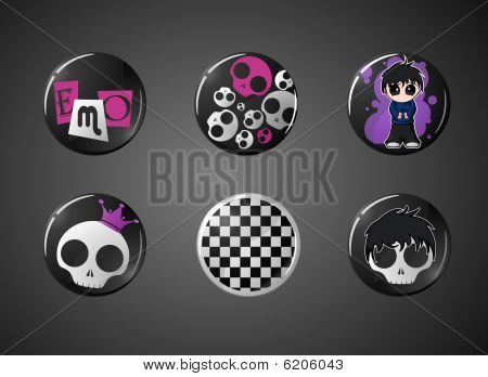 set of emo style buttons
