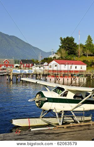 Seaplane at dock in Tofino on Pacific coast of British Columbia, Canada