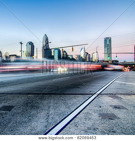 early morning in Charlotte queen city North Carolina poster