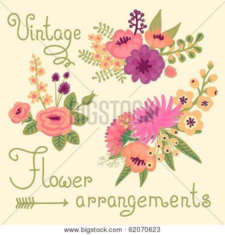 Vintage flowers. Cute flower for design