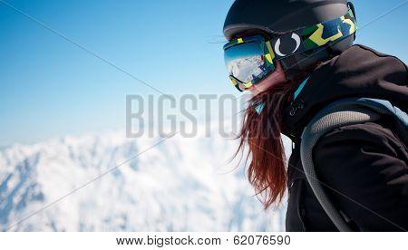 Portrait of woman in alps
