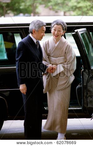 WASHINGTON, D.C., 12 AUGUST 1994 -- Japanese Emperor Akihito and Empress Michiko arrive at the Kennedy Center for the Performing Arts during their state visit.