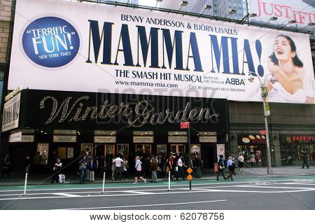 NEW YORK - APR 3: The exterior of the  Winter Garden theater, featuring the play Mamma Mia! on Broadway in New York City on Saturday, April 3, 2010.