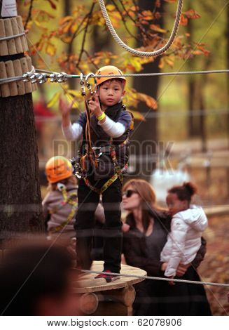 BUDAPEST, HUNGARY - NOV 5: Brad Pitt and Angelina Jolie take their children Pax, Zahara and Shiloh to a park in Budapest, Hungary, on Friday, November 5, 2010. Jolie is in Hungary filming In The Land Of Blood And Honey.