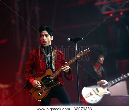 BUDAPEST, HUNGARY - AUG 9: The rock/ pop/ funk musician Prince in concert at the annual Sziget Festival in Budapest, Hungary, on Tuesday, August 9, 2011.