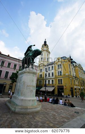 PECS, HUNGARY - JUNE 4: A statue of Janos Hunyadi, a leading Hungarian general against the 15th century Ottoman onslaught of Hungary, stands on Szechenyi square in Pecs, Hungary, on Saturday, June 4, 2011.