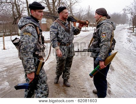 NORTHERN CHECHNYA - JANUARY 4: Russian army special forces (OMON) on patrol on Jan 4, 1995 in Chechnya.